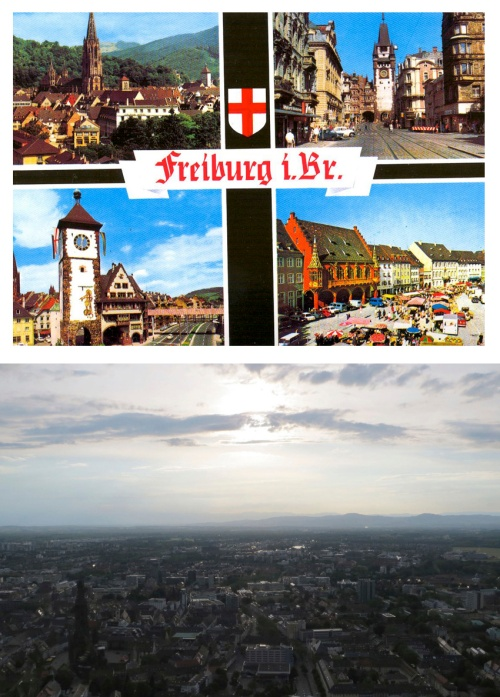 Postal y panorámica de Freiburg über Breisgau