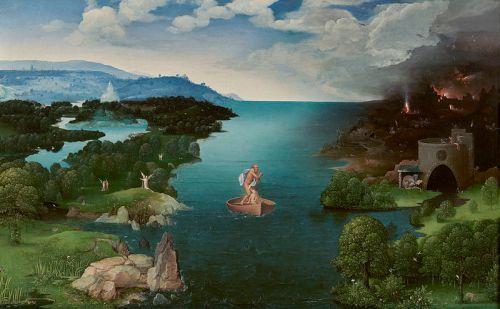 El barquero Caronte cruzando la laguna Estigia, uno de mis cuadros favoritos en el Museo del Prado, obra de Joachim Patinir