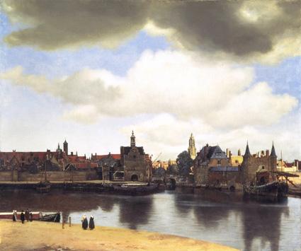 Vista de Delft, de Vermeer. A la derecha, el petit pan de mur jaune que Marcel Proust describe en su novela y, a la izquierda, la sede de la compañía de las Indias Orientales