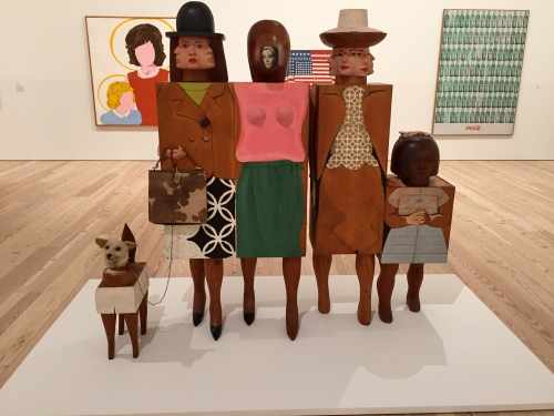 Women and a dog, by Marisol
