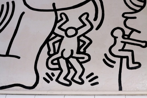 These black on white murals were a project that Keith Haring developed in 1989. Once upon a time is located at the men's room of the second floor of the Gay and Lesbian Community Services Center, 208 W 13th Street, New York.